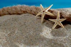 Starfish_stones_sand_bamboo_mat 图库摄影