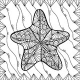 Starfish style zentangl. Can be used as coloring in your project Royalty Free Stock Photography