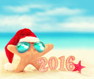 Starfish in sunglasses on summer beach and santa hat. Stock Photos