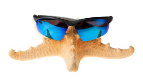 Starfish in sunglasses on vacation. isolated Stock Photo