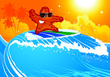 Starfish on surf. Happy starfish on surfing board on a wave Stock Photo