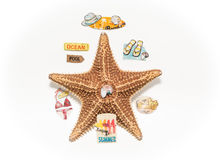Starfish surrounded with various vacation signs, tags, and messages isolated on white grey background Royalty Free Stock Photos