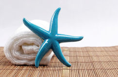 Starfish and towel Stock Photography
