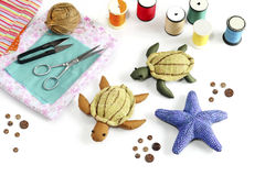 Starfish, turtle doll made of cloth. Royalty Free Stock Photography