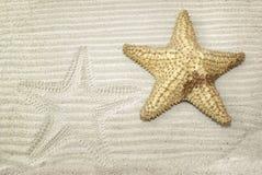 Starfish und es sind Abdruck auf Sand Lizenzfreies Stockfoto