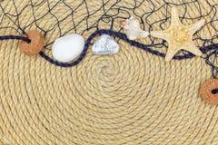 Starfish und Marinenetz liegen auf dem Hintergrund, der vom Seil gemacht wird Stockbild