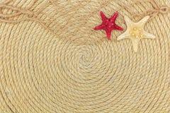 Starfish- und Seenetz liegen auf dem Hintergrund, der vom Seil gemacht wird Lizenzfreies Stockbild