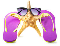 Starfish on vacation  over white Royalty Free Stock Photos