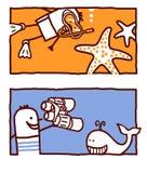 Starfish & whale vector illustration
