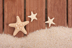 Starfish and wood stock images