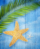 Starfish on wooden background Fotografia Stock