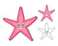 Starfish-Zeichentrickfilm-Figur der hohen Qualität umfassen flaches Design und Linie Art Version Lizenzfreie Stockfotos