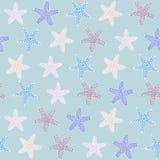 热带starfishe纹理 模式无缝的向量 海洋动物区系 库存照片