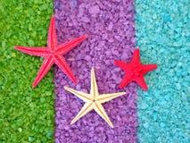 Starfishes  on bath salt Royalty Free Stock Photo