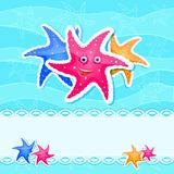Starfishes at Blue Sea Background Card Royalty Free Stock Photo