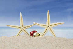 Starfishes and christmas bells on beach Royalty Free Stock Image