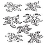 Starfishes. In decorative style on a white background. Vector Royalty Free Stock Photos