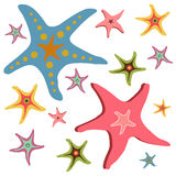 Starfishes seamless pattern. Set of colorful beautiful cartoon style star fishes stock illustration