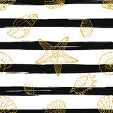 starfishes seamless pattern on black striped background. Stock Photos