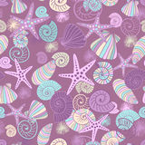 Starfishes and seashells seamless pattern Stock Photography