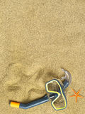 Starfishes and swimming goggles on sand Stock Photography