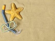 Starfishes und Schwimmenschutzbrillen auf Sand Stockbilder