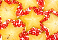 Starfruit, φέτα Carambola και ρόδια Στοκ εικόνες με δικαίωμα ελεύθερης χρήσης