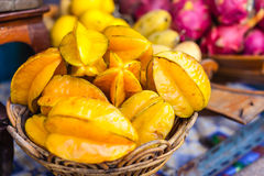 Starfruit basket Royalty Free Stock Photos