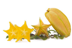 Starfruit, carambola op witte achtergrond Stock Foto's