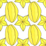 Starfruit or carambola. Seamless pattern with Royalty Free Stock Photography