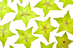 Starfruit (carambola) slices Royalty Free Stock Images