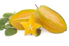 Starfruit, carambola su bianco Immagini Stock Libere da Diritti