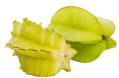Starfruit or Carambola VI. Starfruit or Carambola over white background Royalty Free Stock Photo