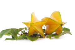 Starfruit, carambola on white background Royalty Free Stock Photo