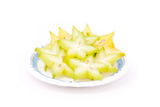 Starfruit. Sliced starfruit on white background Royalty Free Stock Images