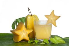 Starfruit and Starfruit juice. Stock Photography