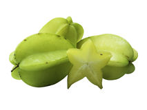 Starfruit and starfruit slice on a white background isolate ,clipping path in Stock Photo