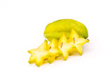 Starfruit. Starfruit on white background Royalty Free Stock Photos
