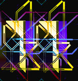 Stargate. Modern abstract linear prism geometric pattern with rainbow spot coloring and glass effect Royalty Free Stock Photo