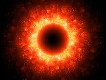 Stargate mágico impetuosamente de incandescência no espaço com testes padrões sextavados ilustração do vetor