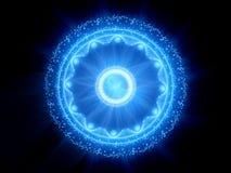 Stargate magique rougeoyant de bleu dans l'espace illustration de vecteur