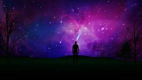Stargaze, a conexão com o universo, silhueta do homem em um campo ilustração royalty free