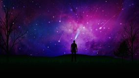, Stargaze Verbindung mit dem Universum, Mannschattenbild auf einem Feld lizenzfreie abbildung