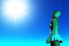 Stargazer. Rendered image of girl gazing at starry sky Stock Image