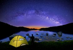 A Stargazer and The Milky Way. A glowing tent and the silhouette of a stargazer enjoying The Milky Way at Salt Fork lake, Ohio Stock Photography