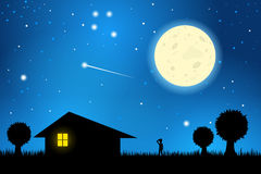 Stargazing on a moonlit night. Silhouette of a lone man outside his house staring at the moon in a starry sky stock illustration