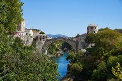Stari莫斯塔尔,波斯尼亚多数老桥梁  免版税图库摄影