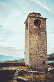STARI BAR, MONTENEGRO - September, 2016: The tiny church in the oldest fortress of Old . Ancient ruin . Stock Photos