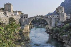 Stari bridge in Mostar, Bosnia and Herzegovina. Famous Mostar Bridge over river in Bosnia and Herzegovina Royalty Free Stock Image