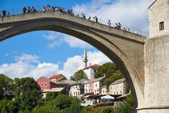 Stari die meiste alte Brücke, Mostar Stockfotografie